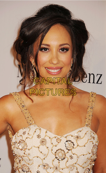 Cheryl Burke.The 26th Anniversary Carousel Of Hope Ball presented by Mercedes-Benz at The Beverly Hilton Hotel in Beverly Hills, California, USA..October 20th, 2012.headshot portrait gold beige patterned   .CAP/ROT/TM.©Tony Michaels/Roth Stock/Capital Pictures