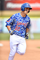 Tennessee Smokies third baseman Jason Vosler (22) rounds the bases after hitting a home run during a game against the Mississippi Braves at Smokies Stadium on May 20, 2018 in Kodak, Tennessee. The Braves defeated the Smokies 7-4. (Tony Farlow/Four Seam Images)