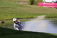 Amy Yang (KOR) chips from a bunker at the 5th green during Thursday's Round 1 of The Evian Championship 2018, held at the Evian Resort Golf Club, Evian-les-Bains, France. 13th September 2018.<br /> Picture: Eoin Clarke | Golffile<br /> <br /> <br /> All photos usage must carry mandatory copyright credit (© Golffile | Eoin Clarke)