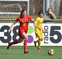 20180326 - ZALTBOMMEL , THE NETHERLANDS : Belgian Aster Janssens pictured during the UEFA Women Under 17 Elite round game between Belgium WU17 and Romania WU17, on the second matchday in group 1 of the Uefa Women Under 17 elite round in The Netherlands , monday 26 th March 2018 . PHOTO SPORTPIX.BE    DIRK VUYLSTEKE