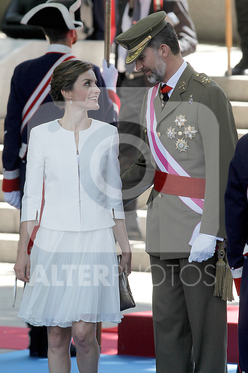 King Felipe VI of Spain and Queen Letizia of Spain attend the 2015 Armed Forces Day Ceremony at the Plaza de la Lealtad. June 6,2015. (ALTERPHOTOS/Acero)