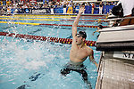 26 MAR 2011:  Eric Friedland of the University of Texas celebrates after winning the 200 Yard Breaststroke during the Division I Men's Swimming and Diving Championship held at the University of Minnesota Aquatics Center in Minneapolis, MN. Friedland swam a 1:52.43 to win the event.  Carlos Gonzalez/ NCAA Photos