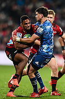 11th July 2020, Christchurch, New Zealand;  Sevu Reece of the Crusaders is tackled by Otere Black of the Blues during the Super Rugby Aotearoa, Crusaders versus Blues, at Orangetheory Stadium, Christchurch