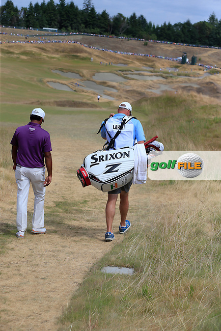 Anirban Lahiri (IND) walks off the 4th tee during Thursday's Round 1 of the 2015 U.S. Open 115th National Championship held at Chambers Bay, Seattle, Washington, USA. 6/18/2015.<br /> Picture: Golffile | Eoin Clarke<br /> <br /> <br /> <br /> <br /> All photo usage must carry mandatory copyright credit (&copy; Golffile | Eoin Clarke)