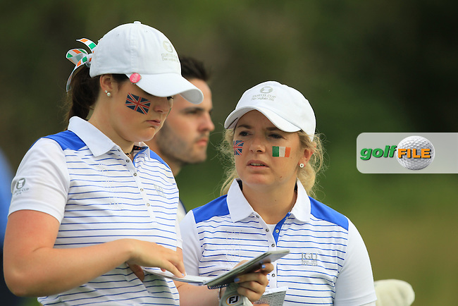 Olivia Mehaffey and Bronte Law on the 3rd during the Friday morning Foursomes of the 2016 Curtis Cup at Dun Laoghaire Golf Club on Friday 10th June 2016.<br /> Picture:  Golffile | Thos Caffrey