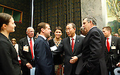 New York, NY - September 24, 2009 -- United Nations Secretary-General Ban Ki-moon (centre, right) converses with Dmitry A. Medvedev (centre, left), President of the Russian Federation, and Gordon Brown (second from right), Prime Minister of the United Kingdom of Great Britain and Northern Ireland, prior to the Security Council Summit on nuclear non-proliferation and disarmament at U.N. Headquarters in New York, New York on Thursday, September 24, 2009. Also present is George Shultz (third from left), former Secretary of State of the United States..Mandatory Credit: UN Photo/Mark Garten via CNP