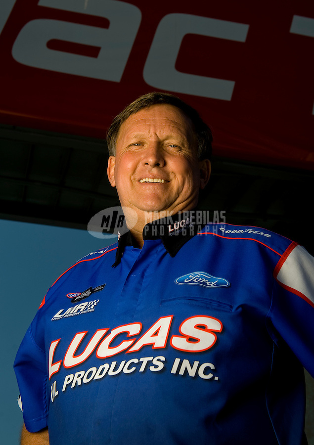 Sept. 5, 2010; Clermont, IN, USA; NHRA pro stock driver Larry Morgan during qualifying for the U.S. Nationals at O'Reilly Raceway Park at Indianapolis. Mandatory Credit: Mark J. Rebilas-