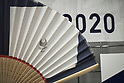 Tokyo Olympics 2020 Showroom September 14, 2017: a fan with a logo of Tokyo 2020 is displayed in a shop in Harajuku, in Tokyo on September 14, 2017. A Tokyo Olympics 2020 showroom open for short term in the fashionable area of Harajuku, in Tokyo. (Photo by Nicolas Datiche/AFLO) (JAPAN)