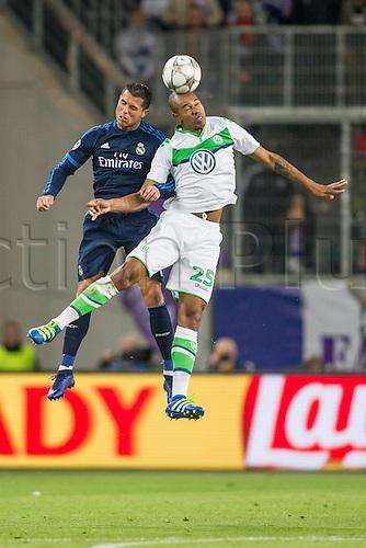 06.04.2016. Wolfsburg, Geramny. UEFA Champions League quarterfinal. VfL Wolfsburg versus Real Madrid. Naldo (VfL Wolfsburg 25) challenges  Cristiano Ronaldo Real Madrid