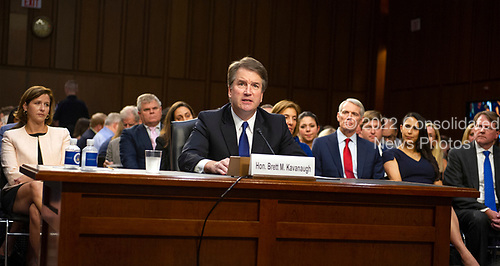 Judge Brett Kavanaugh makes his opening remarks as he testifies before the United States Senate Judiciary Committee on his nomination as Associate Justice of the US Supreme Court to replace the retiring Justice Anthony Kennedy on Capitol Hill in Washington, DC on Tuesday, September 4, 2018.<br /> Credit: Ron Sachs / CNP<br /> (RESTRICTION: NO New York or New Jersey Newspapers or newspapers within a 75 mile radius of New York City)