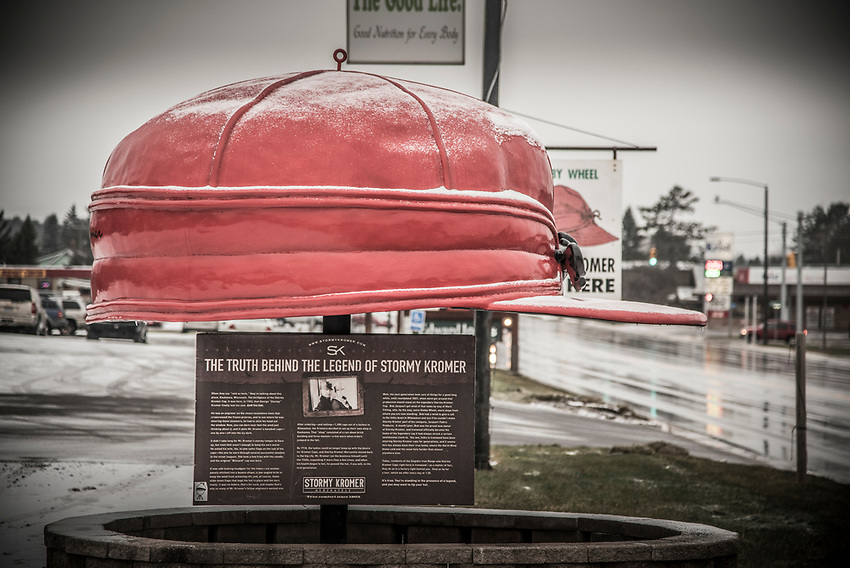A large Stormy Kromer along highway M-28 in Ironwood, Michigan where the iconic hat is made.
