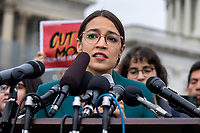 Representative Alexandria Ocasio-Cortez, Democrat of New York, speaks during a press conference calling for an end to immigrant detentions along the Southern United States border held at the United States Capitol in Washington, DC on February 7, 2019. Credit: Alex Edelman / CNP/AdMedia