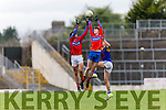 I.S. Killorglin midfielders, Mike Breen and Caolim Teahan rises above Tralee CBS Tomas O'Connor during Corn Uí Mhuírí Q/F in Fitzgerald Stadium on Wednesday