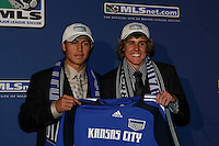Kansas City Wizards eleventh overall pick Roger Espinosa with first overall pick Chance Myers  during the MLS SuperDraft at the Baltimore Convention Center in Baltimore, MD, on January 18, 2008.
