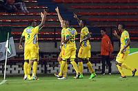 MEDELLIN -COLOMBIA-12-OCTUBRE-2014. Hernan Hechalar del Atletico Huila celebra su gol contra el  Atletico Nacional   durante partido de la 14 fecha de La Liga Postobon jugado en el estadio Atanasio Girardot. / Hernan Hechalar of Atletico Huila   celebrates his goal against Atletico Nacional  during the 14th date round match of La Liga Postobon played at the Polideportivo Sur  Stadium .  Photo: VizzorImage / Luis Rios / Stringer