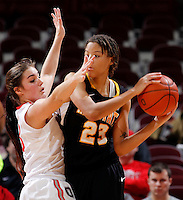 Ohio State Buckeyes guard Cait Craft (13) guards Appalachian State Mountaineers forward/center KeKe Cooper (23) as she looks to make a pass during the first half of the NCAA women's basketball game between the Ohio State Buckeyes and the Appalachian State Mountaineers at Value City Arena in Columbus, Ohio, on Friday, Dec. 20, 2013. At the half, the Buckeyes trailed the Mountaineers 21-17. (Columbus Dispatch/Sam Greene)