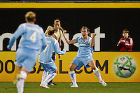 Heather O'Reilly (9) of Sky Blue FC celebrates scoring the game tying goal. Sky Blue FC and FC Gold Pride played to a 1-1 tie during a Women's Professional Soccer match at TD Bank Ballpark in Bridgewater, NJ, on April 11, 2009. Photo by Howard C. Smith/isiphotos.com