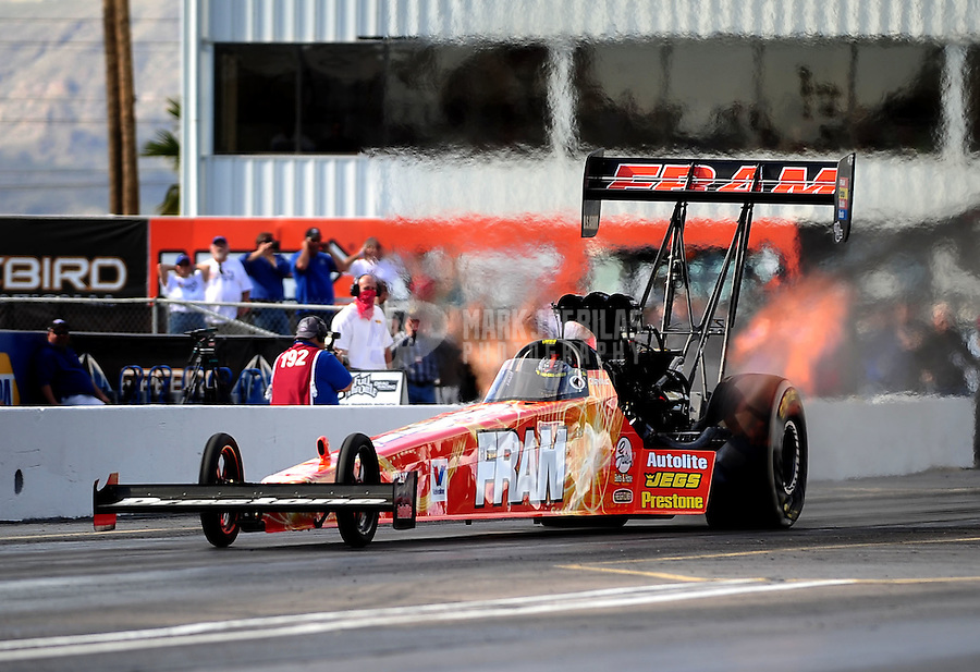 Feb. 19, 2010; Chandler, AZ, USA; NHRA top fuel dragster driver Cory McClenathan during qualifying for the Arizona Nationals at Firebird International Raceway. Mandatory Credit: Mark J. Rebilas-