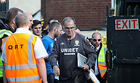 Leeds United manager Marcelo Bielsa steps off the coach<br /> <br /> Photographer Alex Dodd/CameraSport<br /> <br /> The Carabao Cup First Round - Salford City v Leeds United - Tuesday 13th August 2019 - Moor Lane - Salford<br />  <br /> World Copyright © 2019 CameraSport. All rights reserved. 43 Linden Ave. Countesthorpe. Leicester. England. LE8 5PG - Tel: +44 (0) 116 277 4147 - admin@camerasport.com - www.camerasport.com