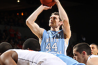 North Carolina Tar Heels forward Tyler Zeller (44) shoots a free throw during the game against Virginia in Charlottesville, Va. North Carolina defeated Virginia 54-51.