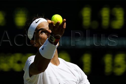 30.06.2015.  Wimbledon, England. The Wimbledon Tennis Championships.  Gentlemen's Singles first round match between tenth seed Rafael Nadal (ESP) & Thomas Bellucci (BRA).  Rafael Nadal in action