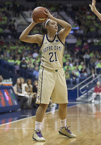 November 18, 2012:  Notre Dame guard Kayla McBride (21) during NCAA Women's Basketball game action between the Notre Dame Fighting Irish and the Massachusetts Minutewomen at Purcell Pavilion at the Joyce Center in South Bend, Indiana.  Notre Dame defeated Massachusetts 94-50.