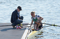 Brandenburg. GERMANY.<br /> Ireland Coach Don MACLACHLAN with IRL W1X. Sanita PUSPURE, 2016 European Rowing Championships at the Regattastrecke Beetzsee<br /> <br /> Saturday  07/05/2016<br /> <br /> [Mandatory Credit; Peter SPURRIER/Intersport-images]