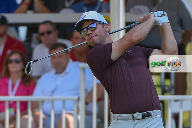 Paul Casey (GBR) watches his tee shot on 1 during 3rd round of the World Golf Championships - Bridgestone Invitational, at the Firestone Country Club, Akron, Ohio. 8/4/2018.<br /> Picture: Golffile   Ken Murray<br /> <br /> <br /> All photo usage must carry mandatory copyright credit (© Golffile   Ken Murray)
