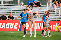 Kansas City, MO - Thursday August 10, 2017: Christina Gibbons, Samantha Mewis during a regular season National Women's Soccer League (NWSL) match between FC Kansas City and the North Carolina Courage at Children's Mercy Victory Field.