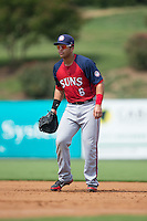 Hagerstown Suns first baseman Jose Marmolejos-Diaz (6) on defense against the Kannapolis Intimidators at CMC-Northeast Stadium on August 16, 2015 in Kannapolis, North Carolina.  The Suns defeated the Intimidators 7-2 in game one of a double-header.  (Brian Westerholt/Four Seam Images)
