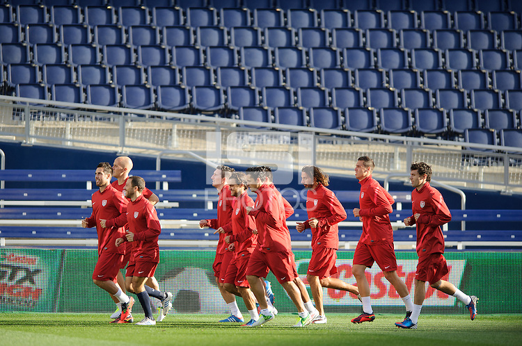 Kansas City, Kansas, October 15, 2012: The USA practices before it's World Cup qualifying match with Guatemala.
