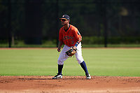 GCL Astros shortstop Sean Mendoza (3) during a Gulf Coast League game against the GCL Mets on August 10, 2019 at FITTEAM Ballpark of the Palm Beaches Training Complex in Palm Beach, Florida.  GCL Astros defeated the GCL Mets 8-6.  (Mike Janes/Four Seam Images)