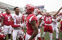Hawgs Illustrated/BEN GOFF <br /> Jordan Jones (10), Arkansas wide receiver and Kamren Curl (2), Arkansas safety, celebrate Saturday, April 6, 2019, after the Arkansas Red-White game at Reynolds Razorback Stadium.
