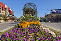 Flower garden on Provencher Stree in St. Boniface District, Winnipeg, Manitoba, Canada