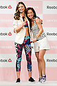 "(L to R) Australian model Miranda Kerr and the fashion model Anne Nakamura attend the Reebok Skyscape Fashion Show on April 15, 2015, Tokyo, Japan. Miranda Kerr, who is very popular in Japan, is the Reebok global ambassador for the new footwear line ""Skyscape"". Models Anne Nakamura, Tina Tamashiro and Funassyi, mascot of Funabashi city in Chiba, also attended the event. (Photo by Rodrigo Reyes Marin/AFLO)"
