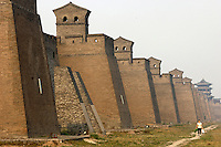 The tower walls of Pingyao Ancient City in  Shanxi, China. Being one of the four wholly-protected ancient cities in China, Pingyao Ancient City is thought of as the 'treasure house' of ancient Chinese architectures..05 Jun 2007.