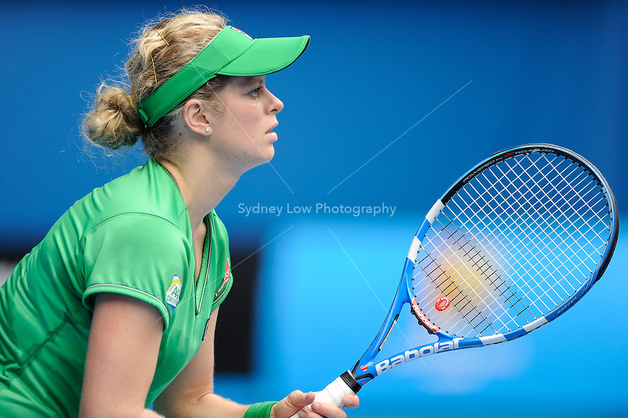 MELBOURNE, 26 JANUARY - Kim Clijsters (BEL) in action during her quarter final match against Agnieszka Radwanska (POL) on day ten of the 2011 Australian Open at Melbourne Park, Australia. (Photo Sydney Low / syd-low.com)