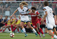 Boyds, MD. - Saturday, June 24 2017:  Allie Long, Francisca Ordega during a regular season National Women's Soccer League (NWSL) match between the Washington Spirit and the Portland Thorns FC at Maureen Hendricks Field, Maryland SoccerPlex. The Washington Spirit defeated Portland Thorns FC 1-0.