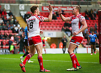 Picture by Alex Whitehead/SWpix.com - 11/05/2018 - Rugby League - Ladbrokes Challenge Cup - Leigh Centurions v Salford Red Devils - Leigh Sports Village, Leigh, England - Leigh's Ben Reynolds celebrates his try with Drew Hutchison.