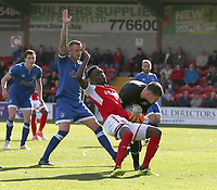 Oldham Athletic's goalkeeper Jack Ruddy collects the ball under pressure from Fleetwood Town's Devante Cole<br /> <br /> Photographer Stephen White/CameraSport<br /> <br /> The EFL Sky Bet League One - Fleetwood Town v Oldham Athletic - Saturday 9th September 2017 - Highbury Stadium - Fleetwood<br /> <br /> World Copyright &copy; 2017 CameraSport. All rights reserved. 43 Linden Ave. Countesthorpe. Leicester. England. LE8 5PG - Tel: +44 (0) 116 277 4147 - admin@camerasport.com - www.camerasport.com