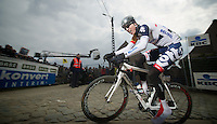 Ronde van Vlaanderen 2013..Marcel Sieberg (DEU) up the Paterberg for the 1st of 3 ascents during the race