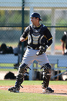 Pittsburgh Pirates catcher Francisco Diaz (43) during a minor league spring training intrasquad game on March 30, 2014 at Pirate City in Bradenton, Florida.  (Mike Janes/Four Seam Images)