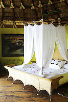 One of the bedrooms/cabañas at the Hotelito Desconocido, an extremely luxurious eco-friendly hotel on Costalegre, Jalisco, Mexico