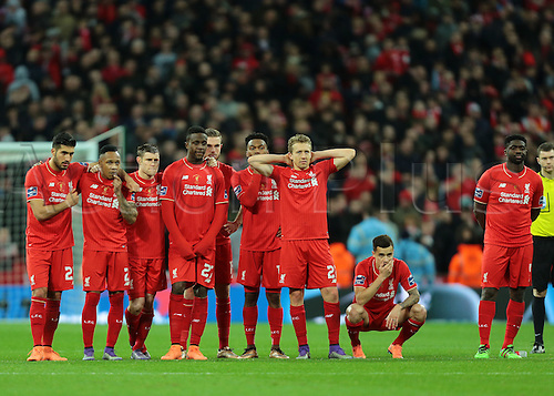 28.02.2016. Wembley Stadium, London, England. Capital One Cup Final. Manchester City versus Liverpool. Liverpool players look nervous during the penalties as they go behind missing 3