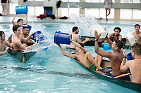 Dawg Days URec Battleship game - student team fun in canoes in the Sanderson pool.<br />  (photo by Megan Bean / &copy; Mississippi State University)