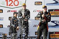 2017 IMSA Continental Tire SportsCar Challenge<br /> Visit Sebring 120<br /> Sebring International Raceway, Sebring, FL USA<br /> Friday 17 March 2017<br /> 60, Ford, Ford Mustang, GS, Jade Buford, Scott Maxwell, podium, champgne<br /> World Copyright: MIchael L. Levitt<br /> LAT Images<br /> ref: Digital Image levitt_seb_0317-15421