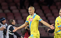 Thursday 27 February 2014<br /> Pictured: Gokhan Inler of Napoli celebrating his goal to seal the win with a 3-0<br /> Re: UEFA Europa League, SSC Napoli v Swansea City FC at Stadio San Paolo, Naples, Italy.