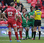Connacht's John Muldoon has words todays referee, Marius Mitrea and then shows the yellow card <br /> <br /> Rugby - Scarlets V Connacht - Guinness Pro12 - Sunday 15th Febuary 2015 - Parc-y-Scarlets - Llanelli<br /> <br /> © www.sportingwales.com- PLEASE CREDIT IAN COOK