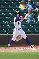 Jake Fincher (3) of the Winston-Salem Dash follows through on his swing against the Buies Creek Astros at BB&T Ballpark on April 16, 2017 in Winston-Salem, North Carolina.  The Dash defeated the Astros 6-2.  (Brian Westerholt/Four Seam Images)