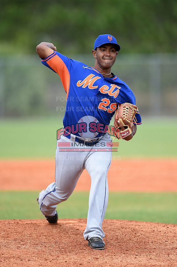 New York Mets pitcher Miller DIaz (29) during a minor league spring training game against the Miami Marlins on March 28, 2014 at Roger Dean Stadium in Jupiter, Florida.  (Mike Janes/Four Seam Images)